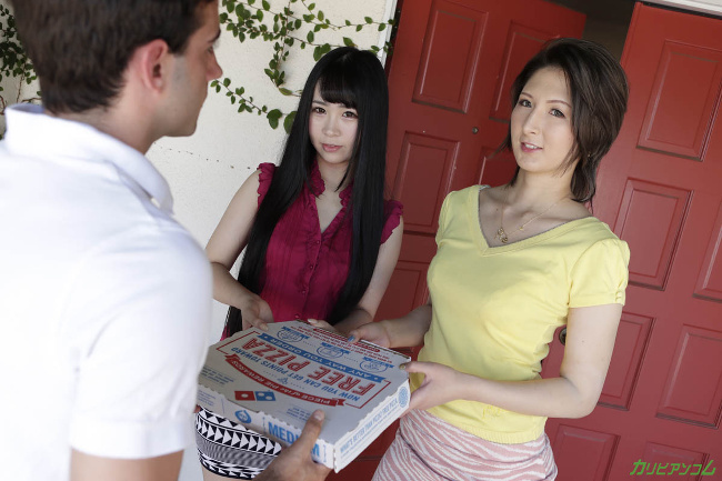 日向あん 明日香クレア ピザデリバリーボーイをステイホームに誘い込むホームステイ留学生 カリビアンコム 2